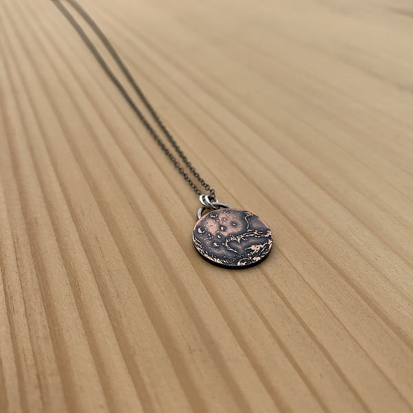 etched planet Mars necklace