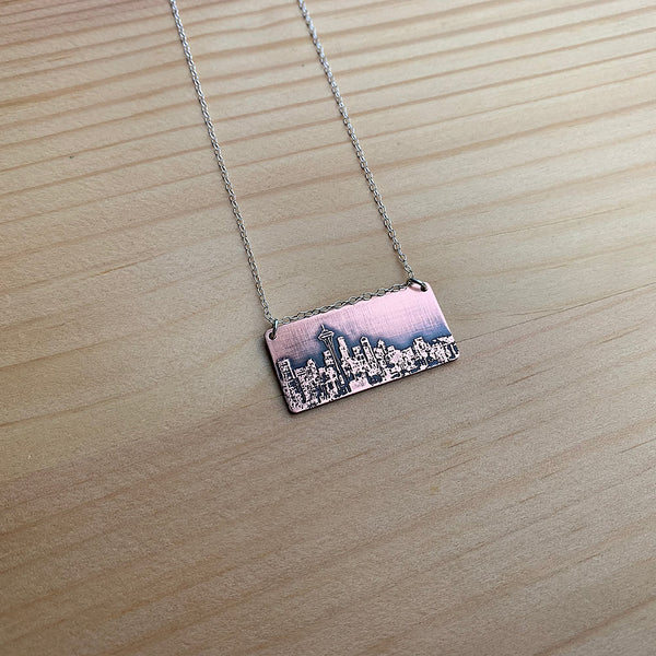 Seattle Washington skyline necklace