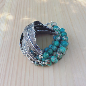 feather bracelet with gemstone beads