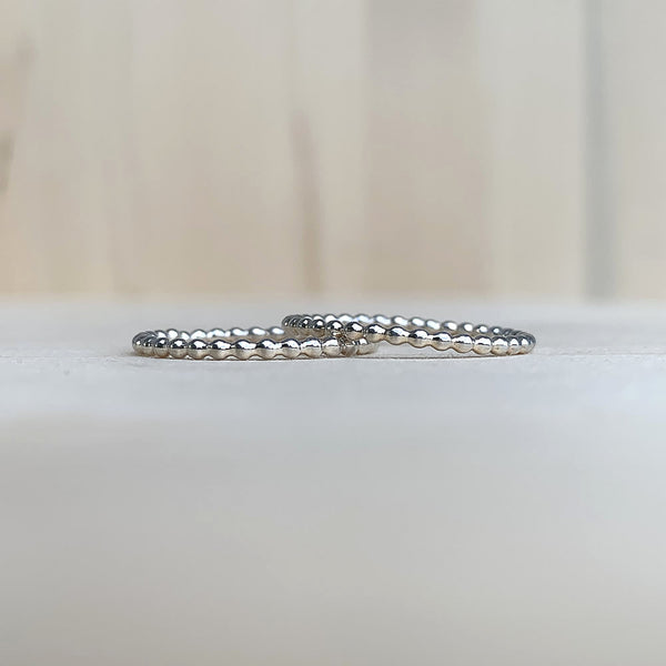 beaded stacking ring in sterling silver