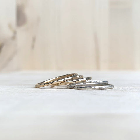 hammered gold fill and sterling silver rings