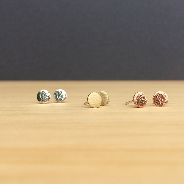 tiny hammered studs