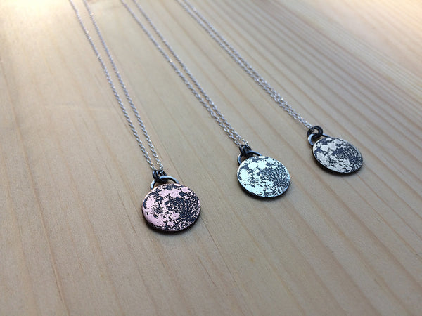 full moon necklace in sterling silver, copper or brass