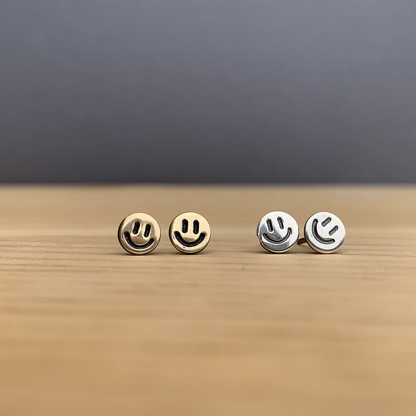 brass and sterling silver smiley face earrings jaci riley jewelry