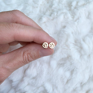 14kt gold fill smiley face earrings jaci riley jewelry