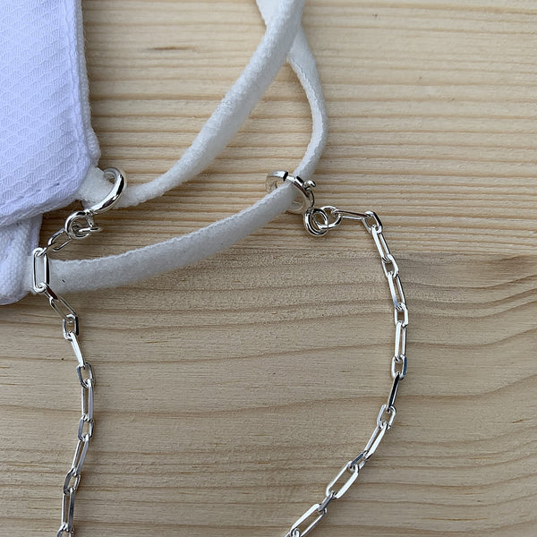 sterling silver mask chain | face mask holder | convertible face mask lanyard