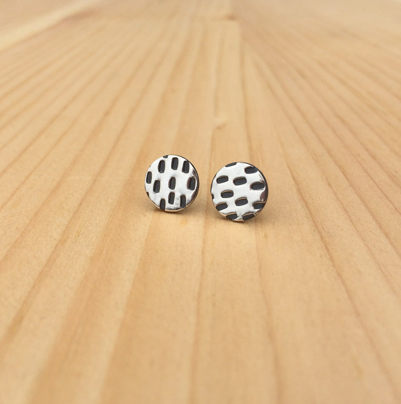 stitch studs in sterling silver, brass or copper