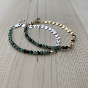 high low bracelet in African turquoise and14k gold fill or sterling silver
