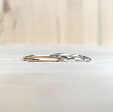 wave ring in sterling silver or 14kt gold fill | hammered stacking ring