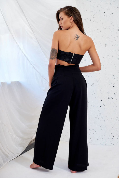 High Waisted Black Wide Leg Trousers