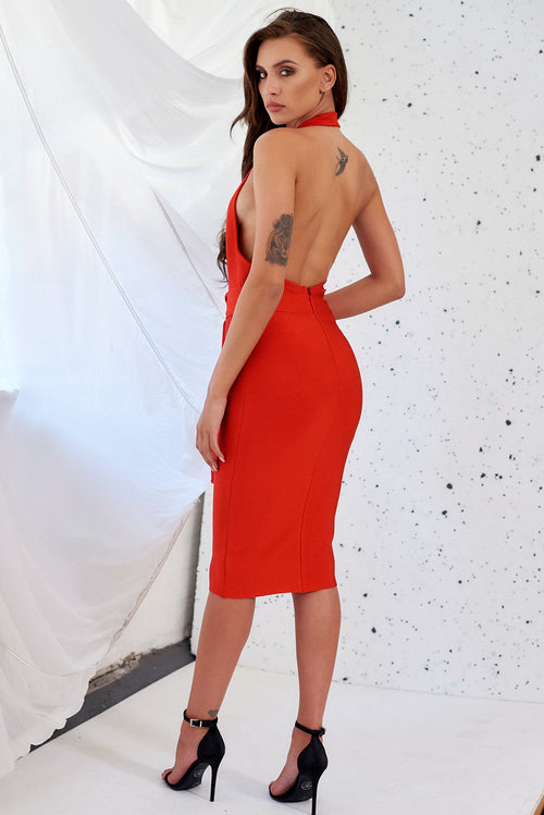 Red Luxury Bandage Plunge Neck Halter Bodycon Dress