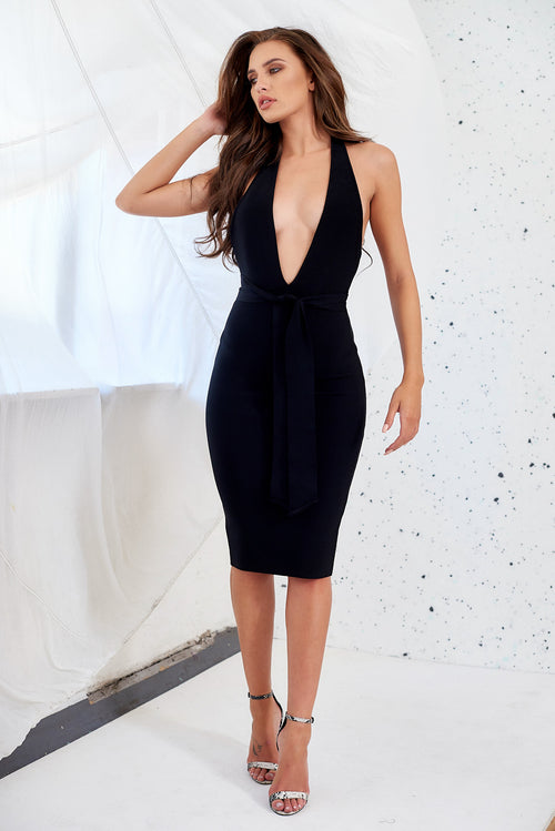 Black Luxury Bandage Plunge Neck Halter Bodycon Dress