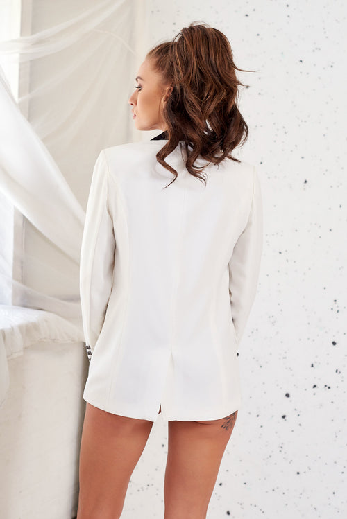 Off White Tux Jacket Dress with Brooches