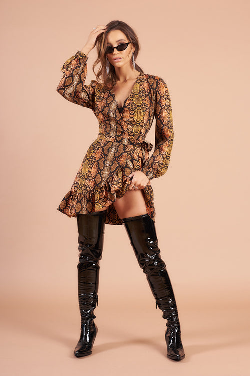 Multi Coloured Snake Print Wrap Mini Dress