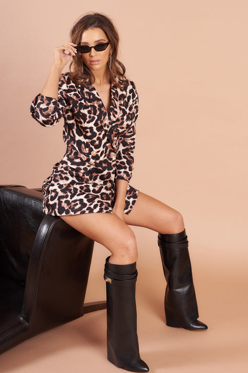 Leopard Print  Double Breasted Blazer Dress
