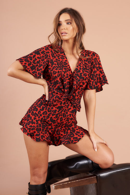Red Leopard Plunge Neck Playsuit
