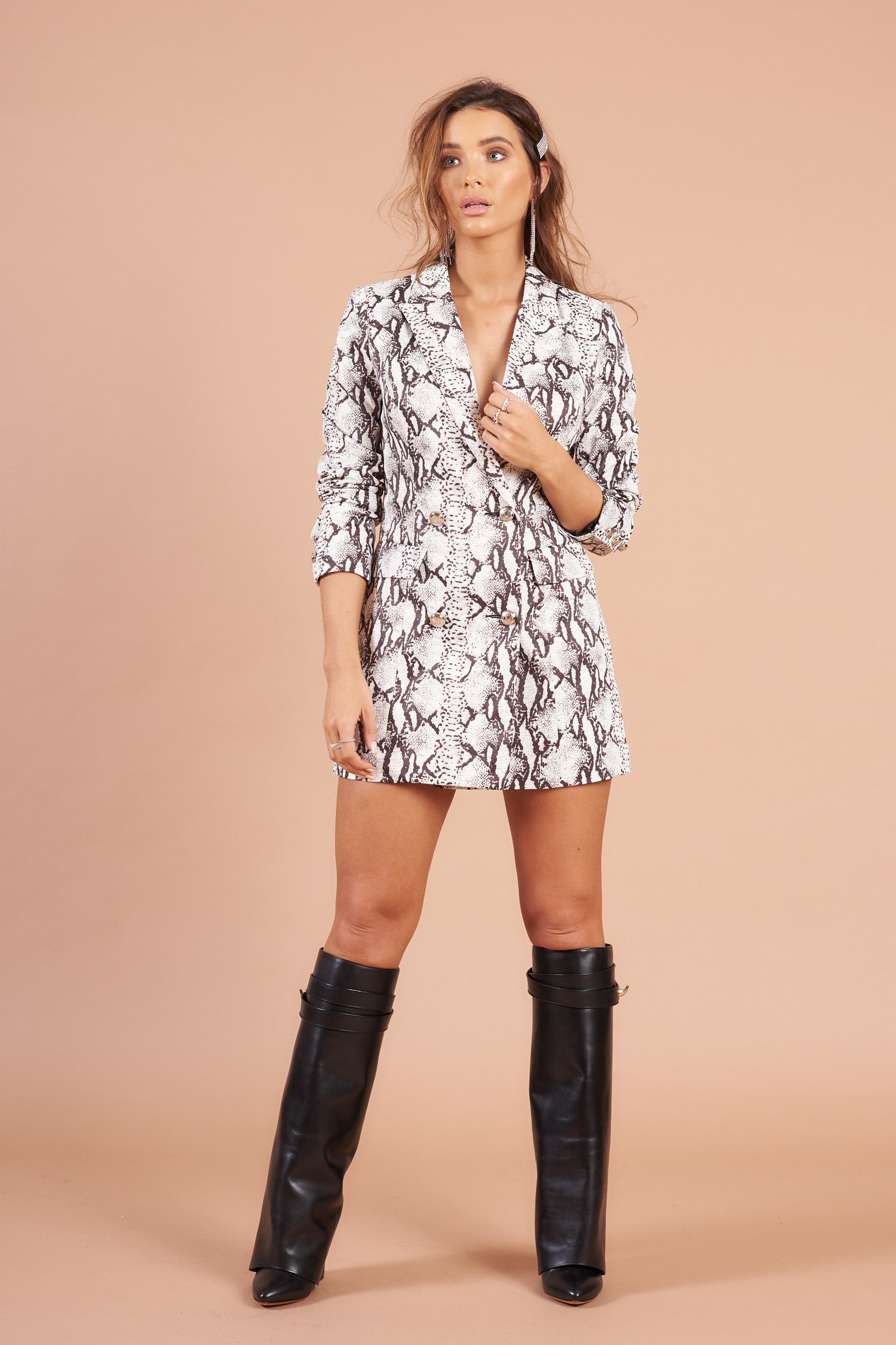 White Snake Print  Double Breasted Blazer Dress