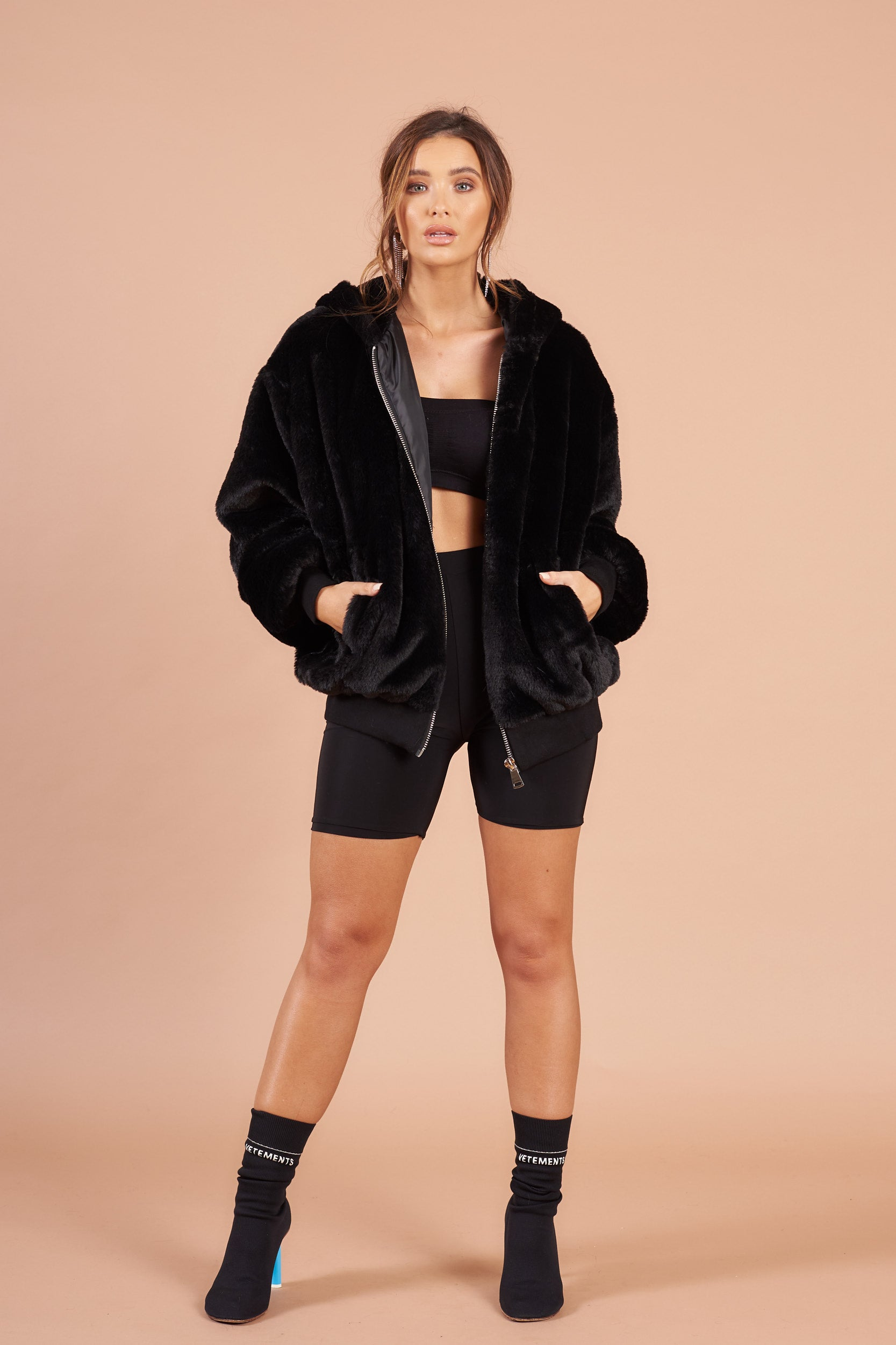 612bbb379d4 Black Teddy Faux Fur Oversized Bomber Jacket – Stereo Blondes