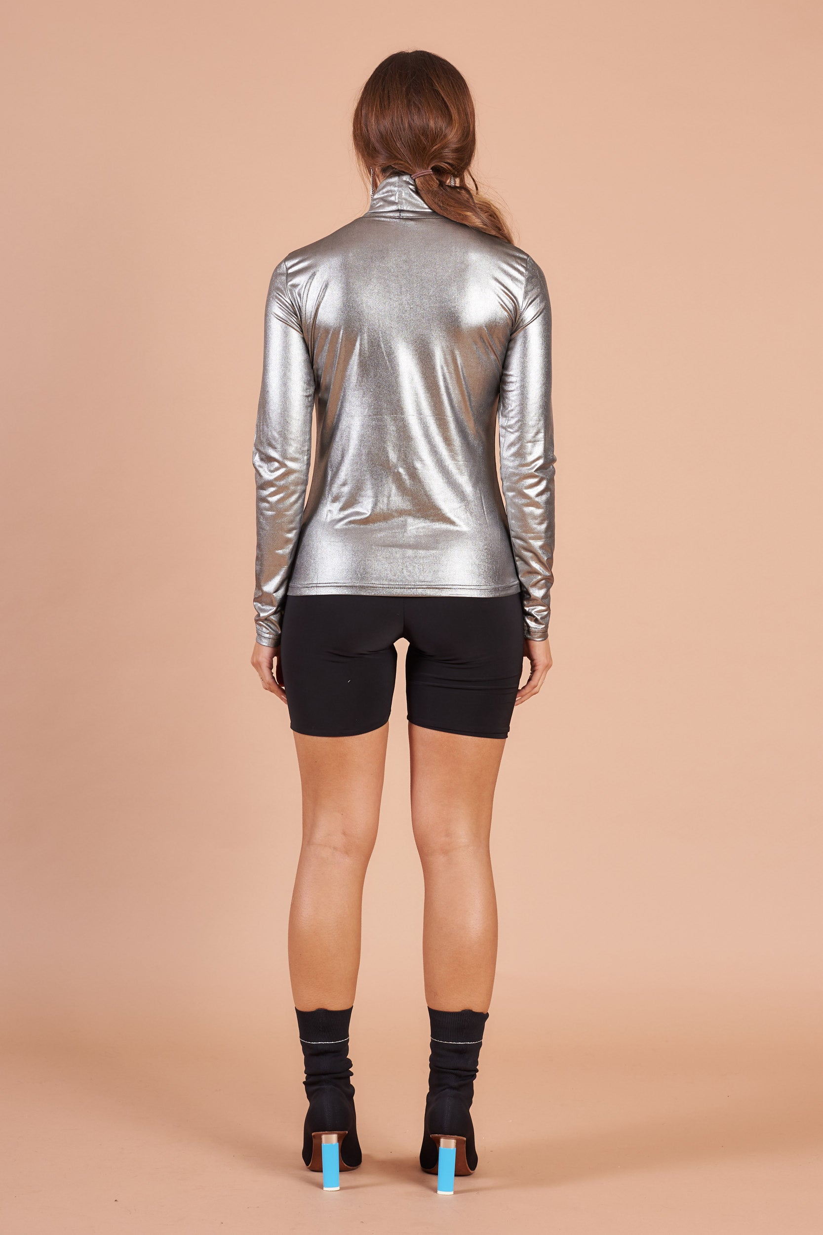 Silver Long Sleeved Polo Neck Top