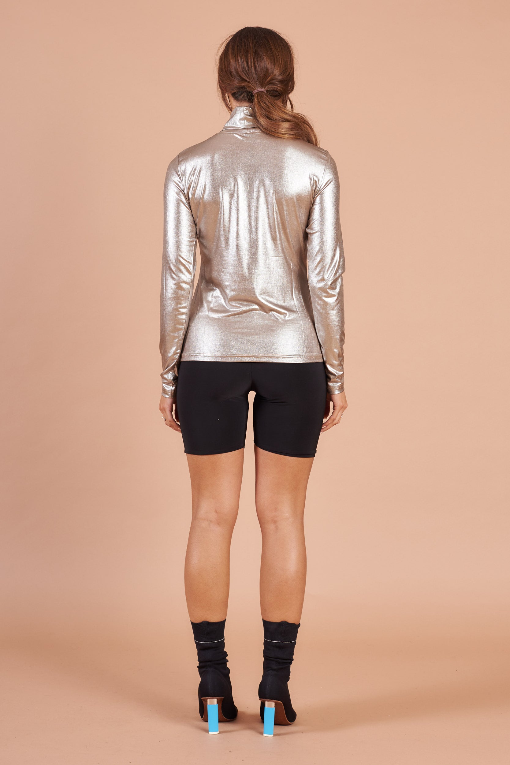 Gold Long Sleeved Polo Neck Top