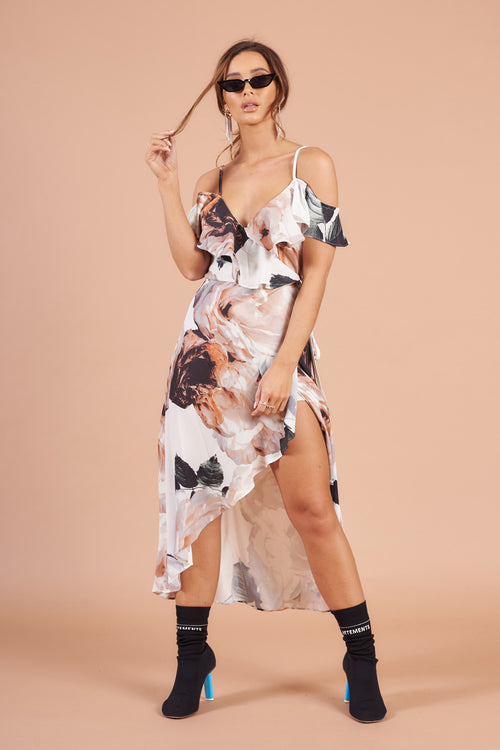 White Cold Shoulder Floral Print Wrap Midi Dress