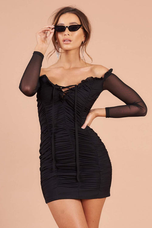 Black Mesh Bardot Mini Dress