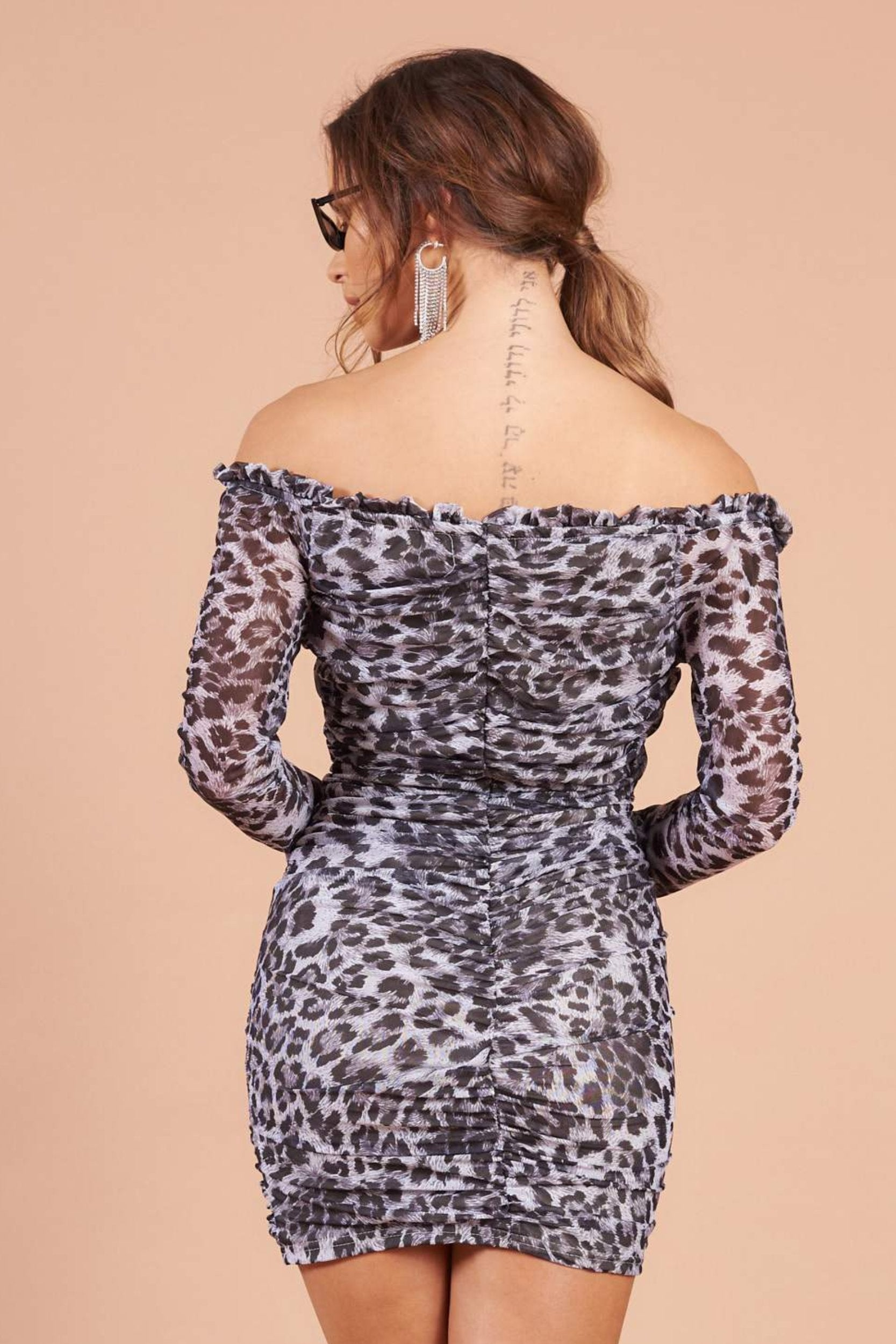 Grey Leopard Print Bardot Mini Dress