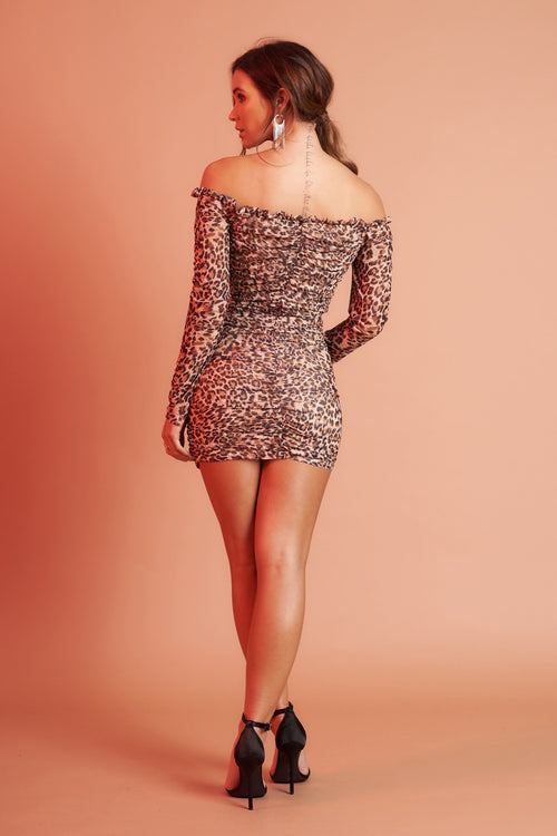 Leopard Print Bardot Mini Dress