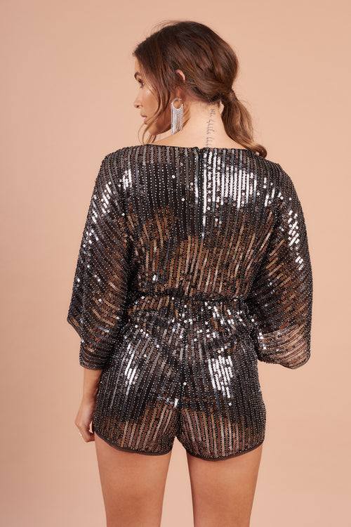 Silver Sequin Plunge Neck Playsuit