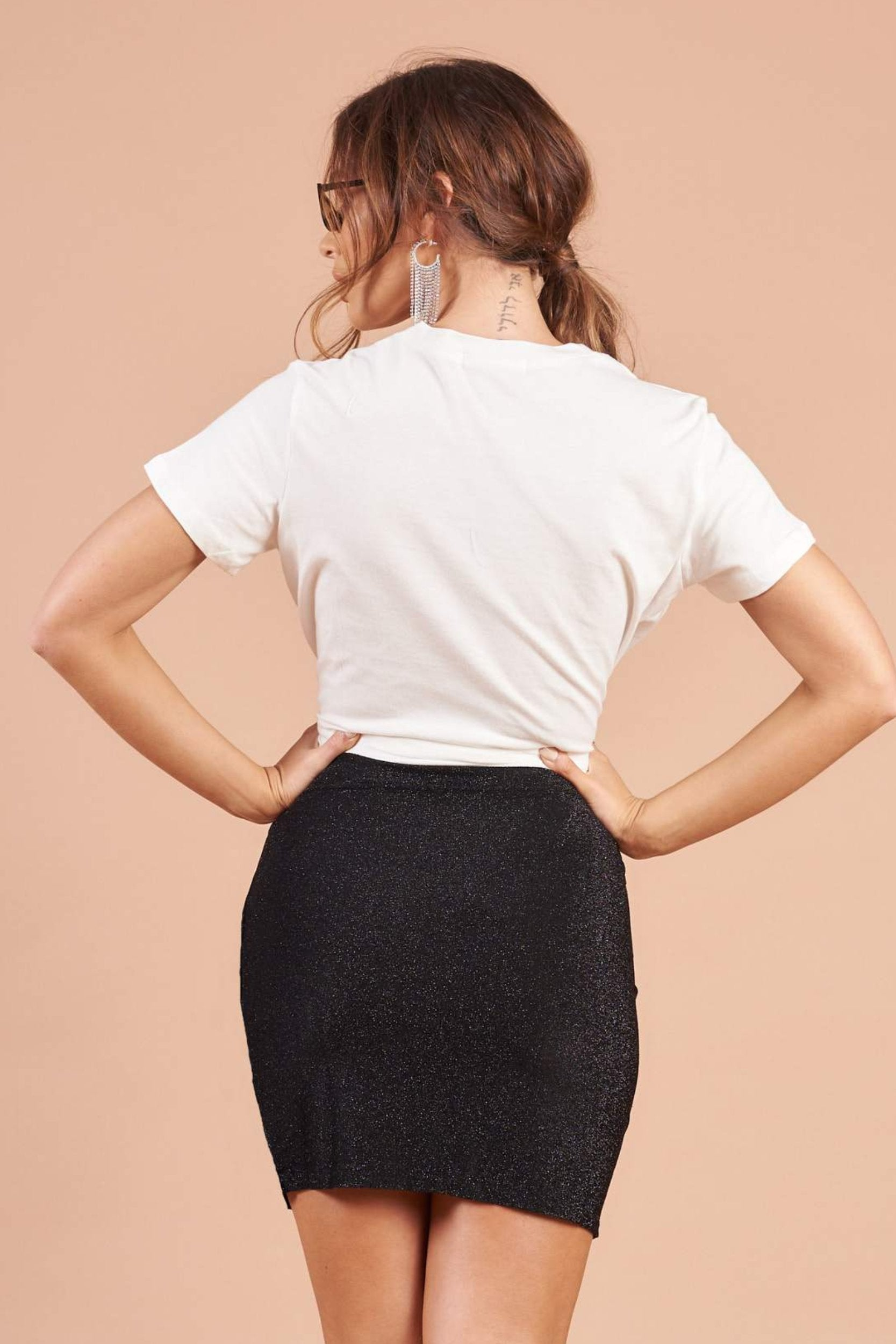 Black Lurex Stretch Jersey Drape  Mini Skirt