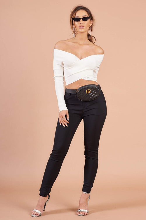 Black Stretch Tailored Cigarette Trousers