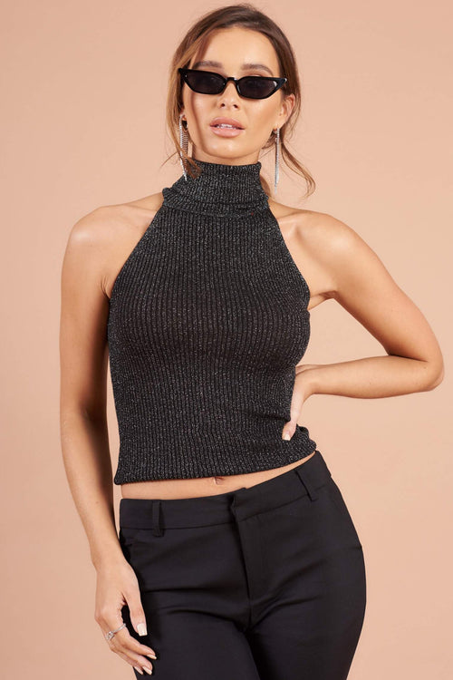 Silver Lurex Sleeveless Knitted Polo Neck Crop Top