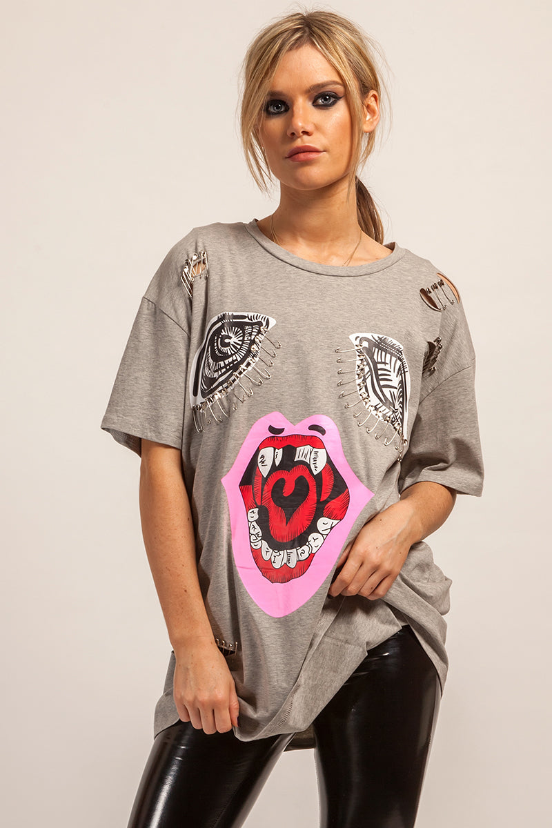 1737b92a45ad Oversized Grey Graphic Print Distressed T-shirt Dress – Stereo Blondes