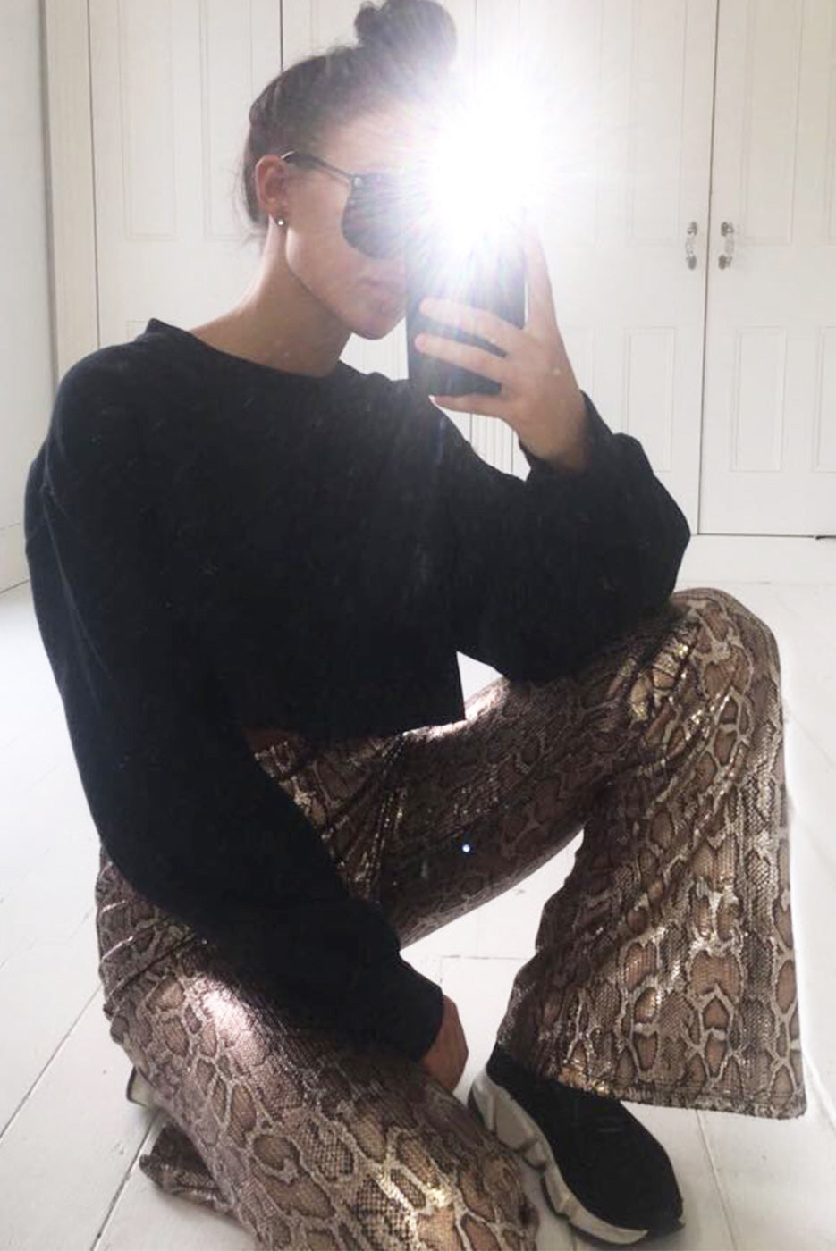 Gold Snake Print Sequin Kick Flare Trousers
