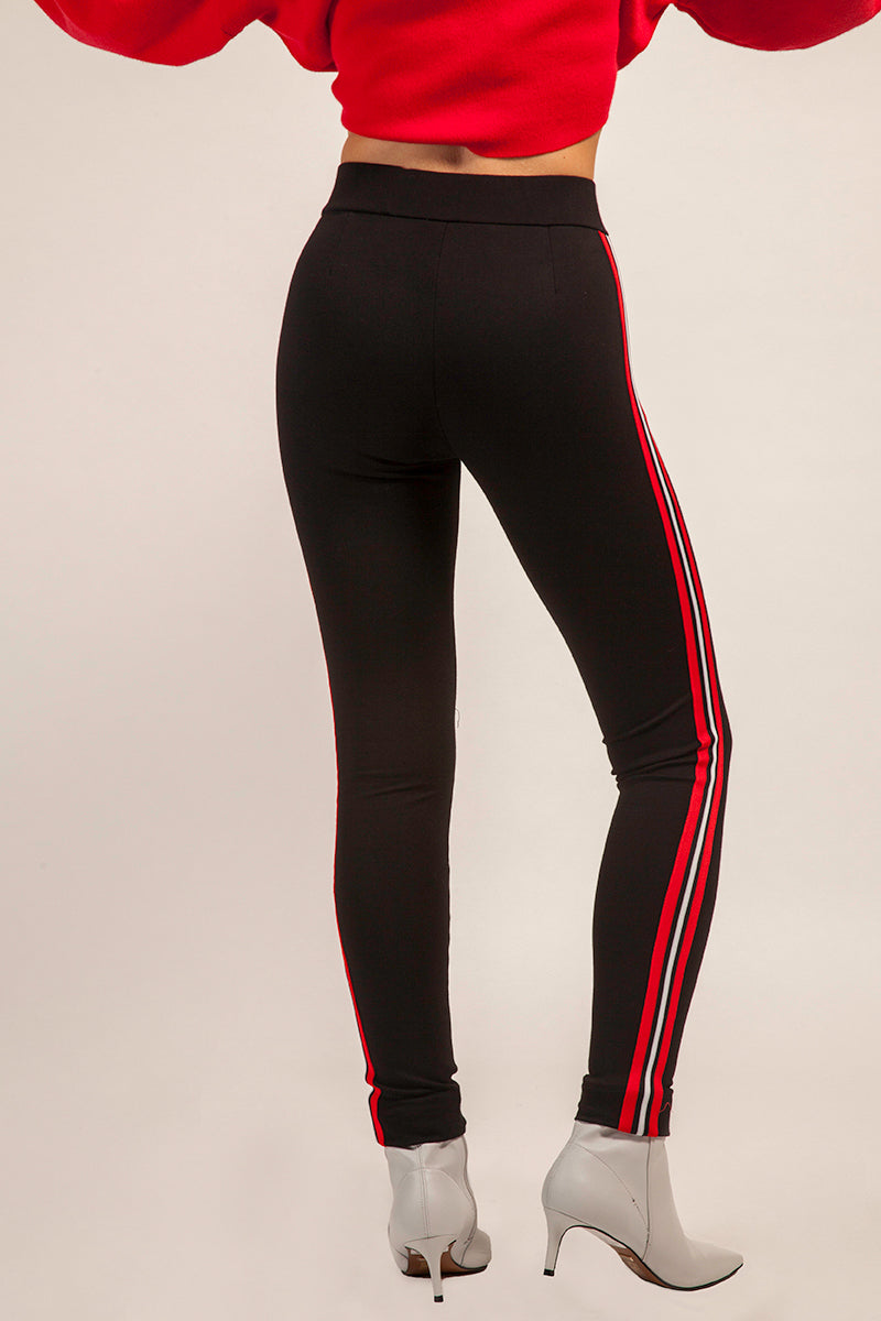 Stretch Black Jersey Legging with Red Stripe