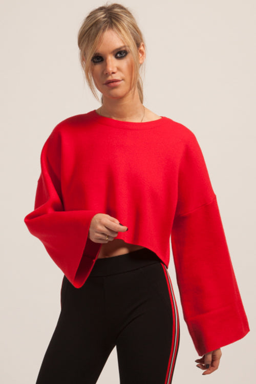 Cropped Red Knitted Jumper