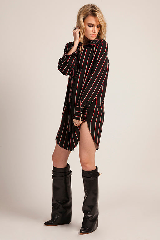 Stripy Black Shirt Dress