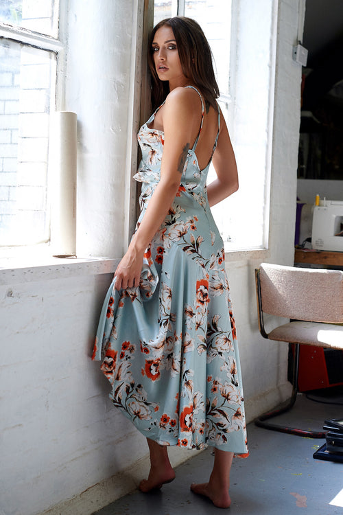Blue Floral Print Strappy Maxi Dress
