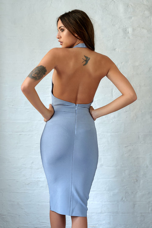 Grey Luxury Bandage Plunge Neck Halter Bodycon Dress