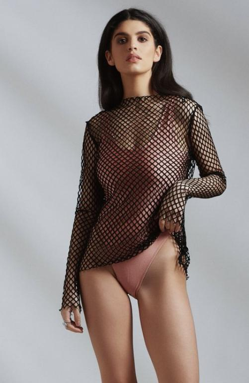 Long Sleeved Black Mesh Top