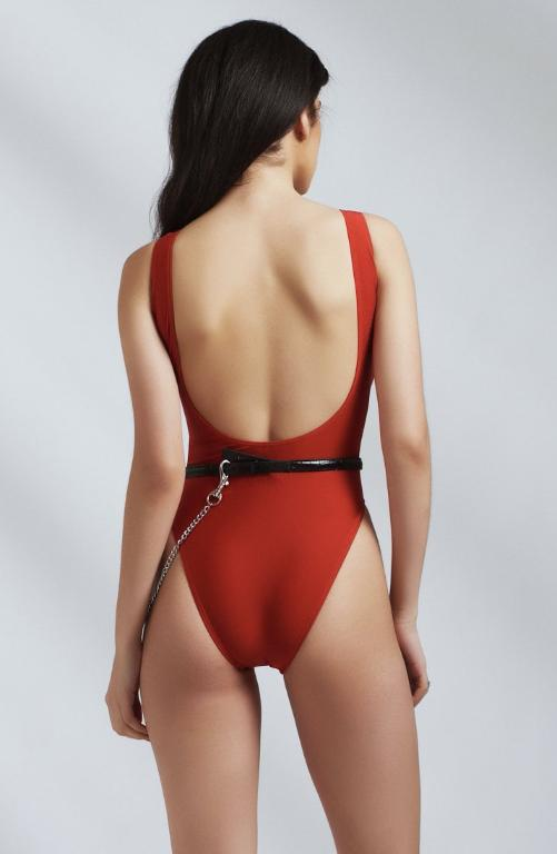 High Leg Plunge Back Red Swimsuit