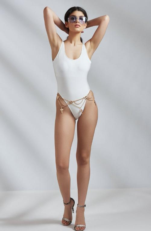 High Leg Plunge Back White Swimsuit