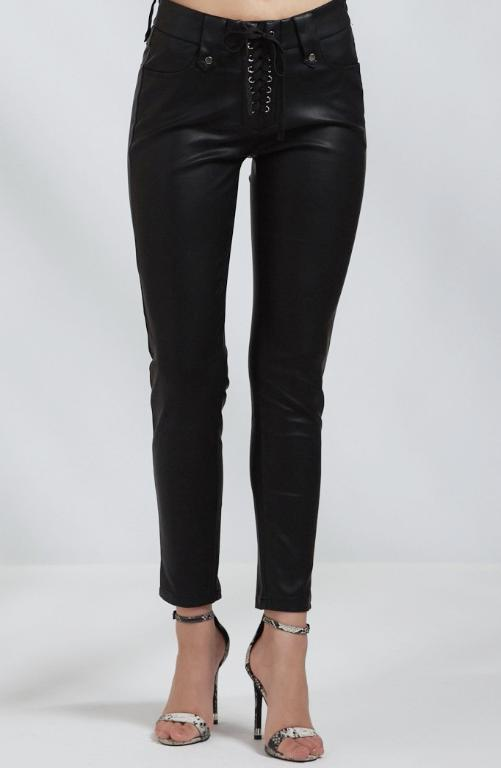 Black Leather Look Lace Up Skinny Trousers
