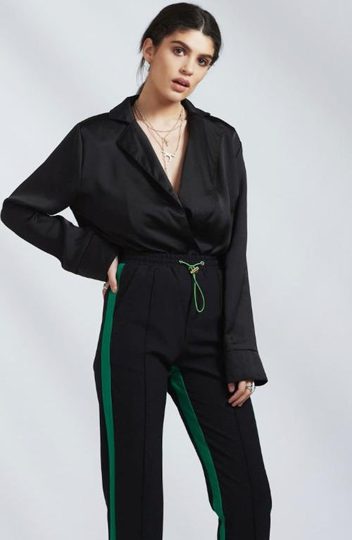 Tailored Black Track Pants with Green Stripe