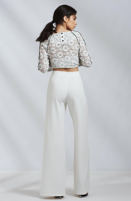 High Waisted Off White Wide Leg Trousers