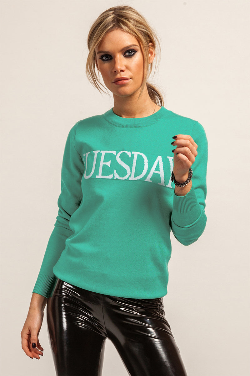 'Tuesday' Knitted Green Jumper