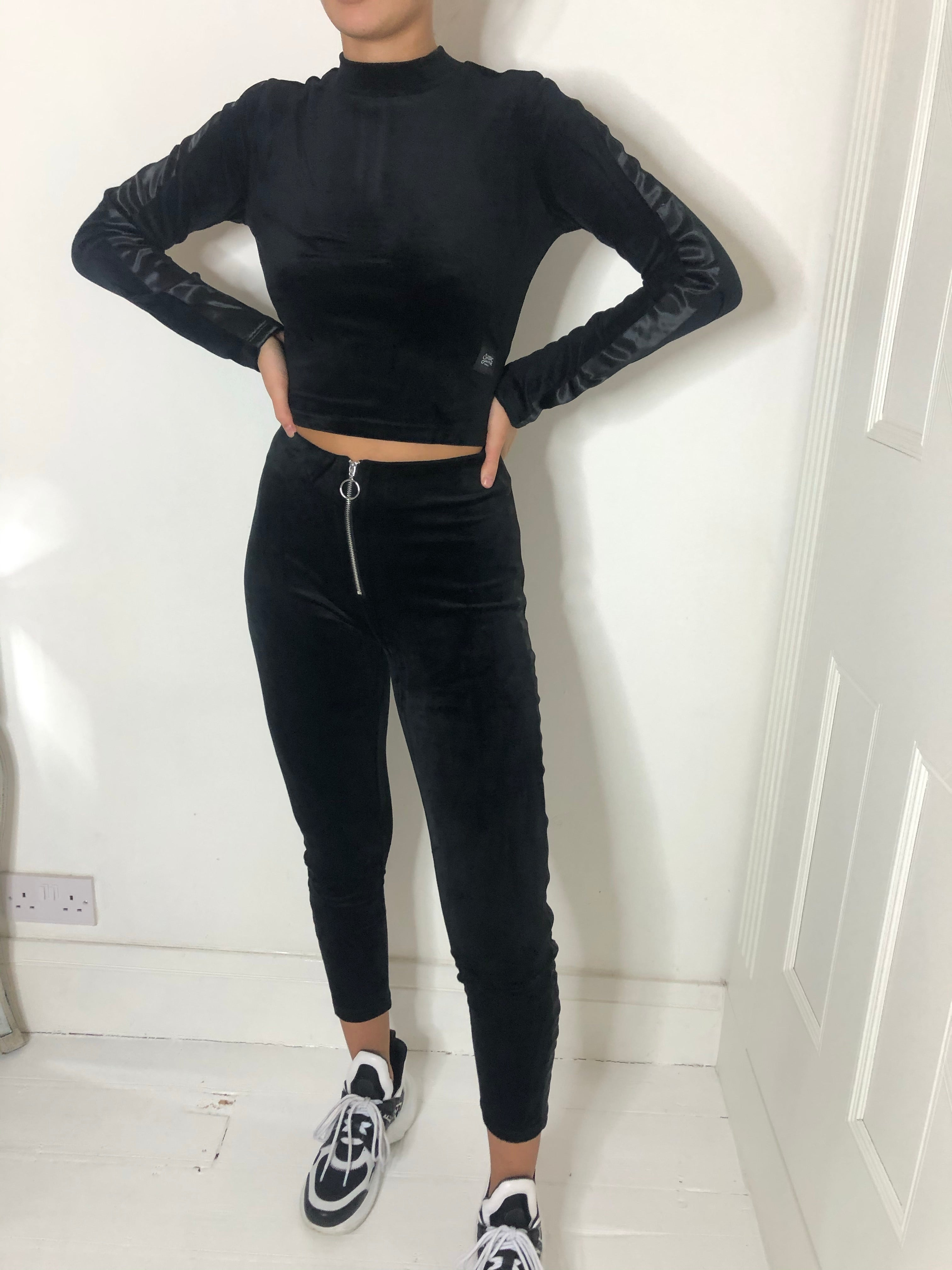 Black velvet leggings and top set