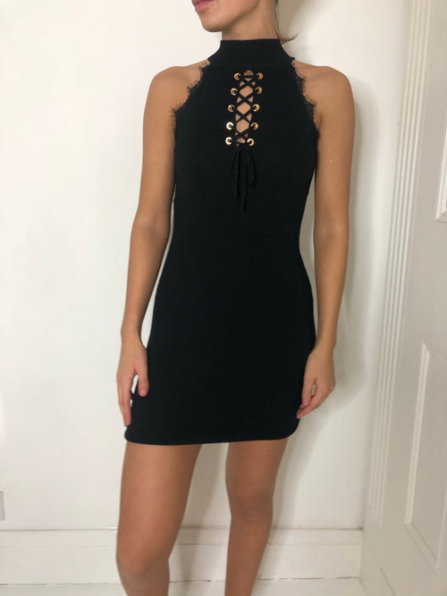 Black knit high neck lace up mini dress