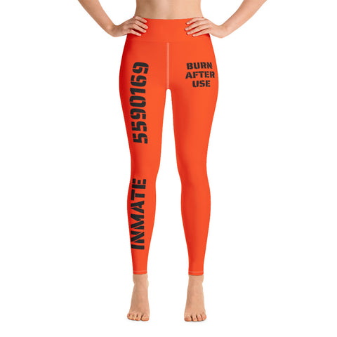 Orange Jumpsuit Prison Inmate Sexy Halloween Costume High Waist Leggings