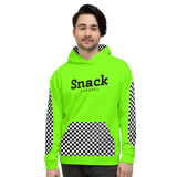 Neon Checkered Unisex Hooded Sweater | Neon Green